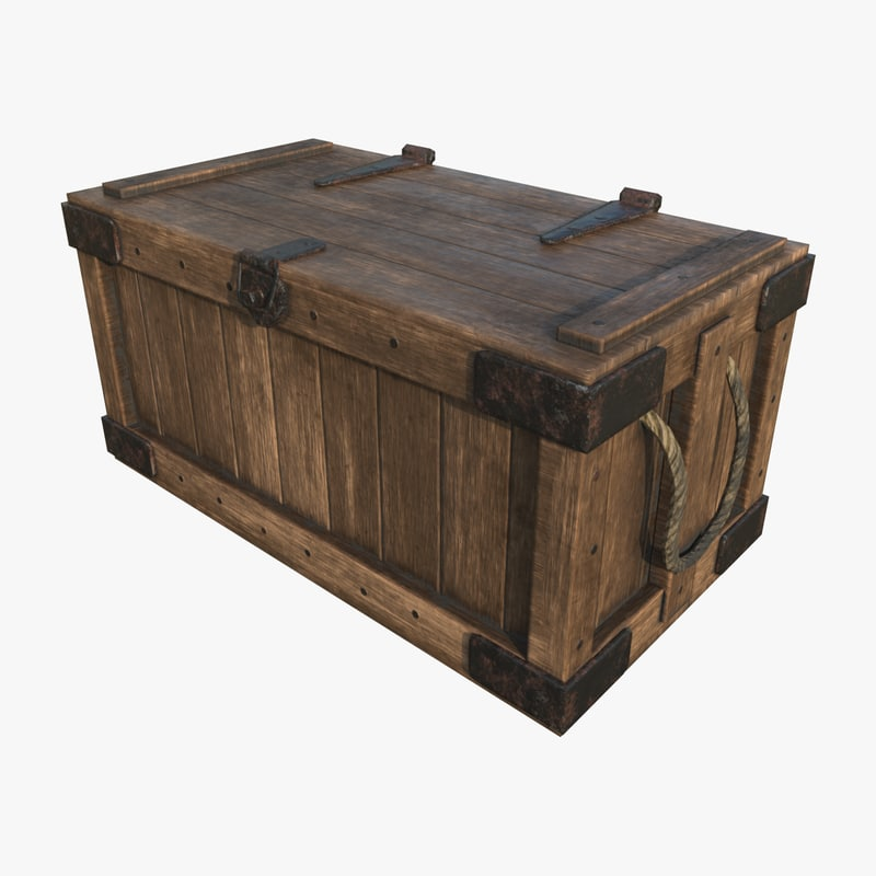 3d wooden crate - ready