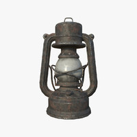 3d old oil lamp - model