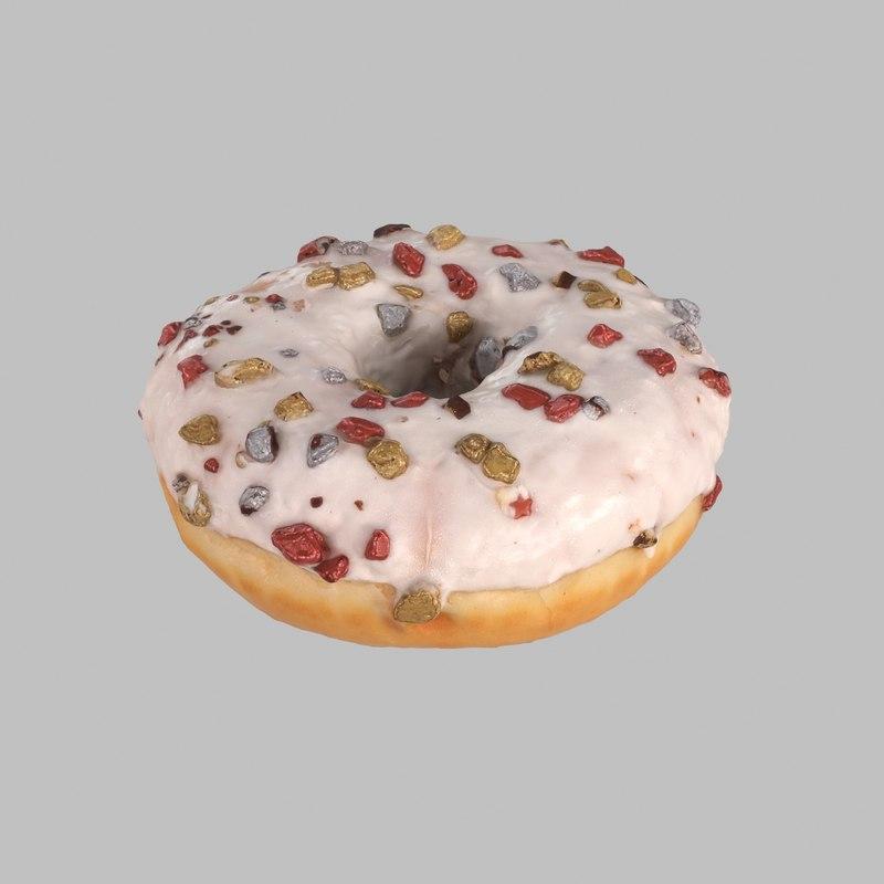 3d model donut chocolate christmas