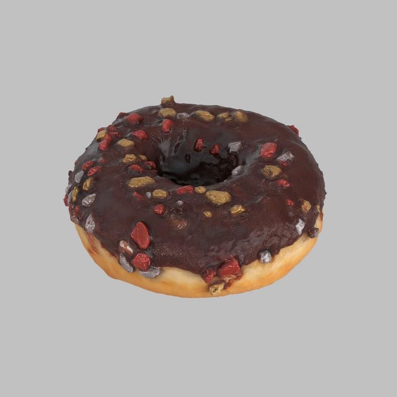donut chocolate christmas 3d model