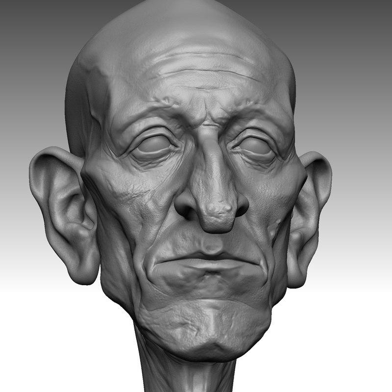 cartoon old man 3d model