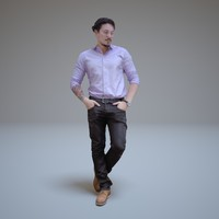 3d model of standing casual man people human