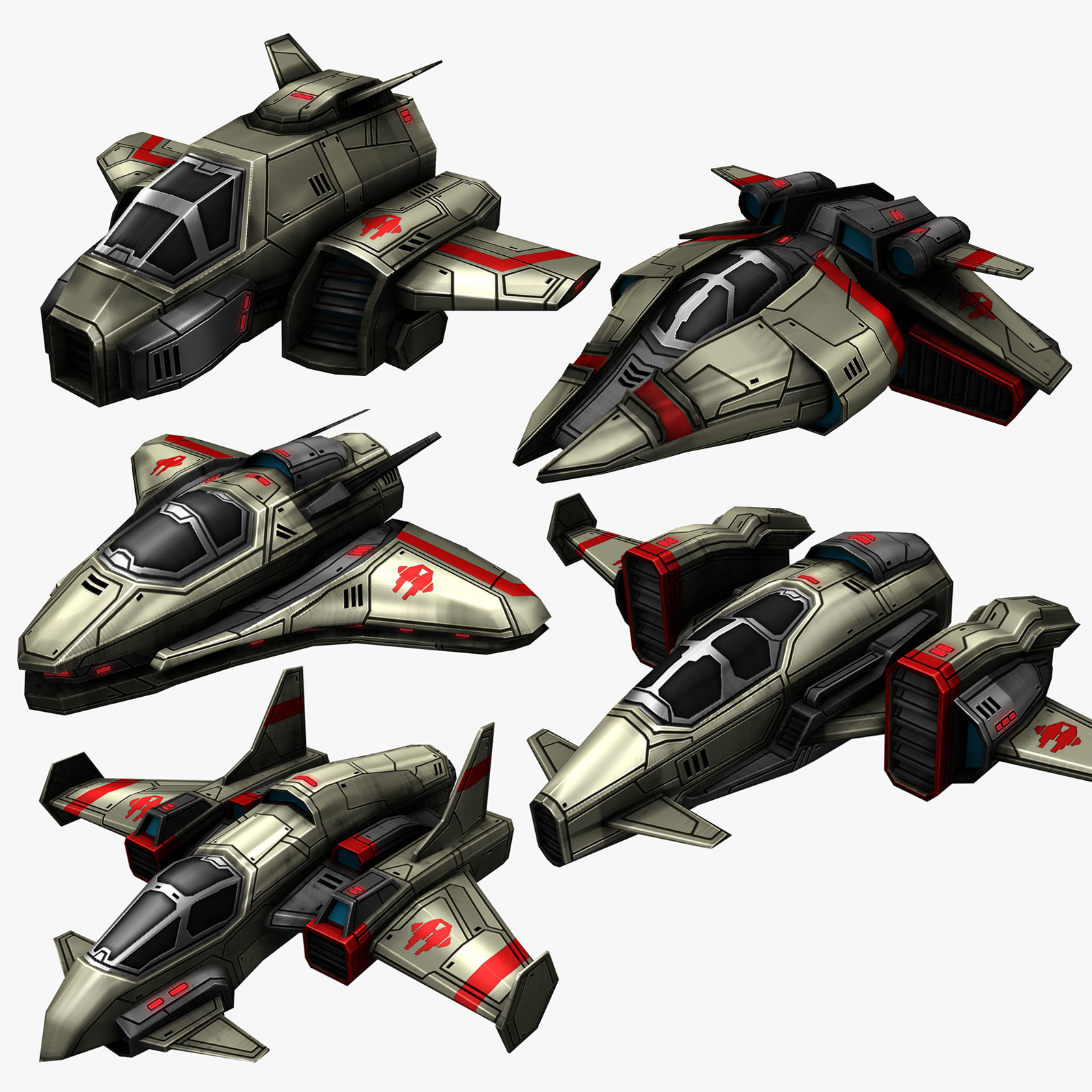3d model 5 space destroyers