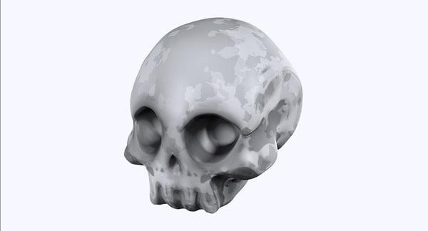 3d skull stylized