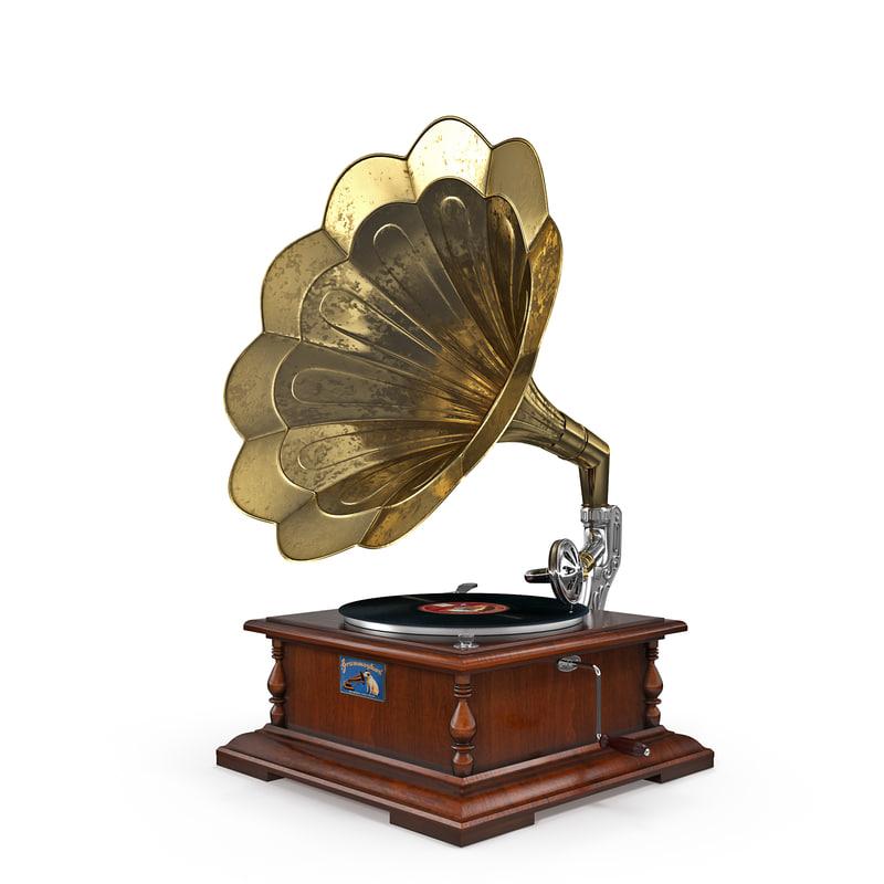 old phonograph gramophone 3d model