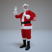 santa claus greeting people human 3d max