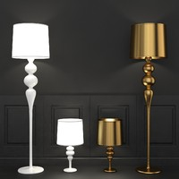 Elegant Floor and Table Lamp In White and Gold Schuller Lena