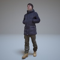 man winter clothes walking people 3d model