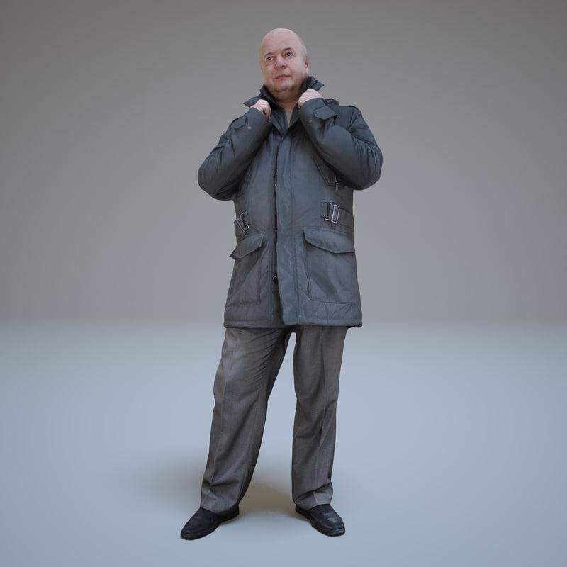 casual men winter dress 3d model
