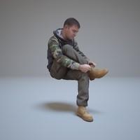 man tied shoelaces people human 3d model