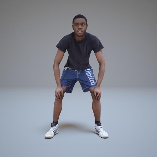 3d model sportsman black people human