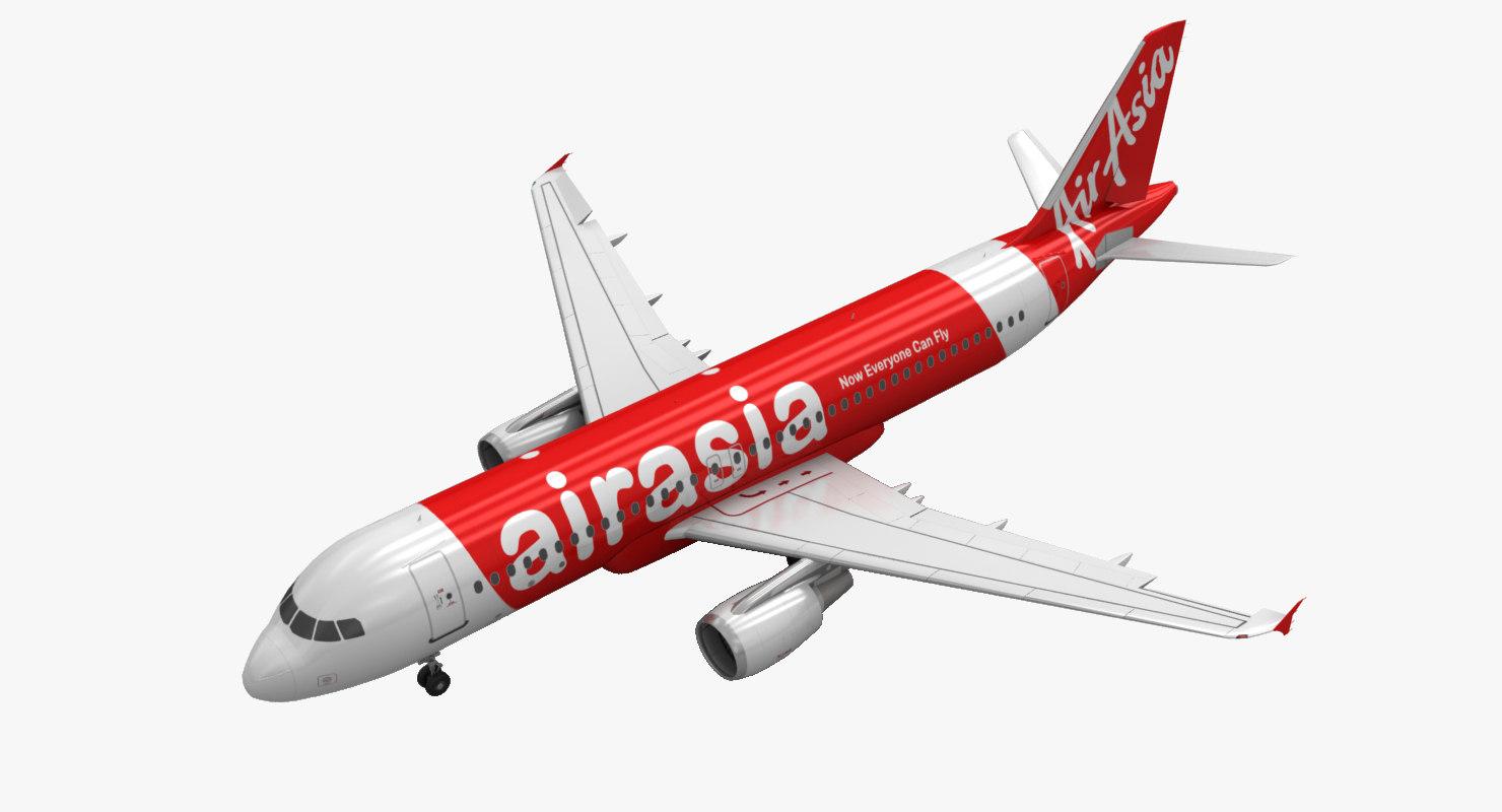 airbus a320 airasia animation 3d max