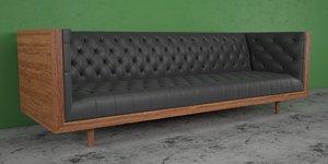 3d model century tufted sofa