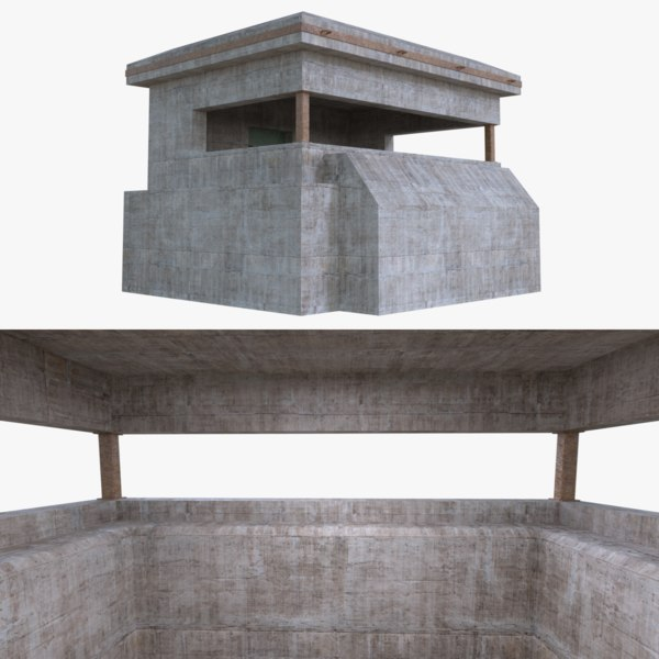 bunker blender post 3d model