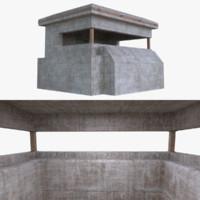 bunker blender post 3d model