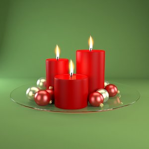 3d model red candles
