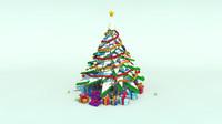 snow christmas tree 3d obj