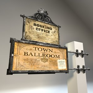 3d model antique wall sign