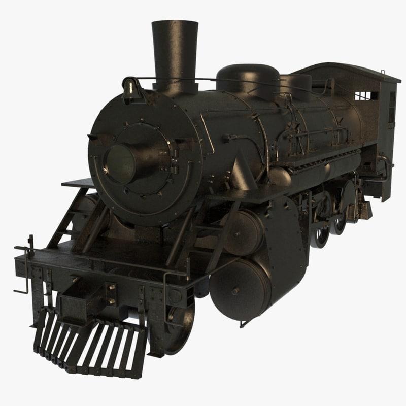 steam train engines 3d obj