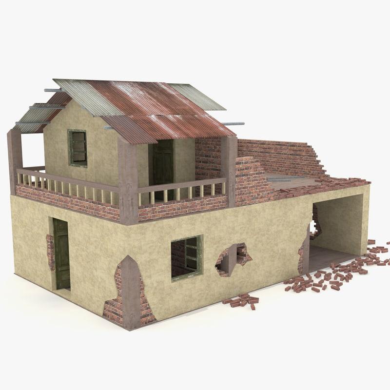3d model destroyed house