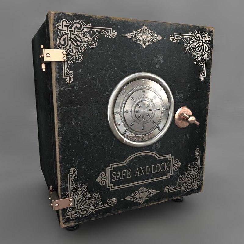 3d model of antique safe