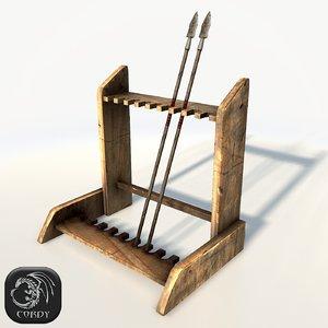medieval weapon rack 3d 3ds