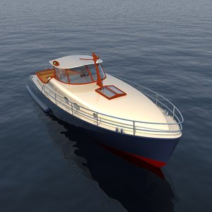 3d classic motor yacht model