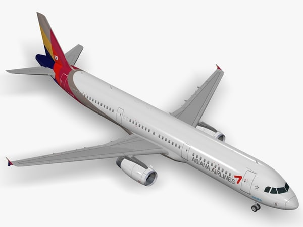3d airbus asiana airlines a321 model