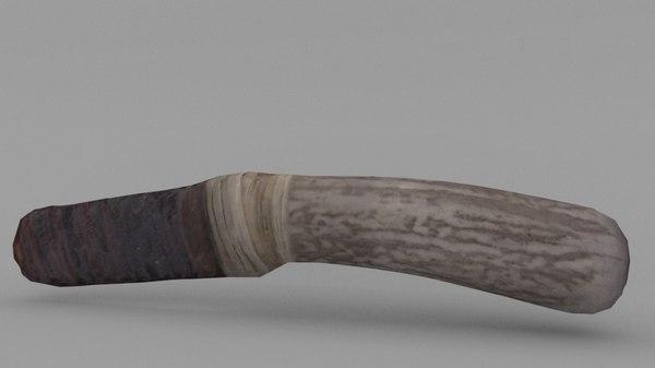 native knife obsidian blade 3d model