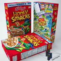 3d kellogs honey smacks cereal box