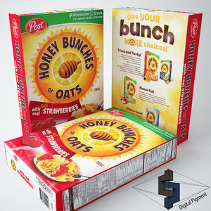 3d model of honey bunches oats strawberry
