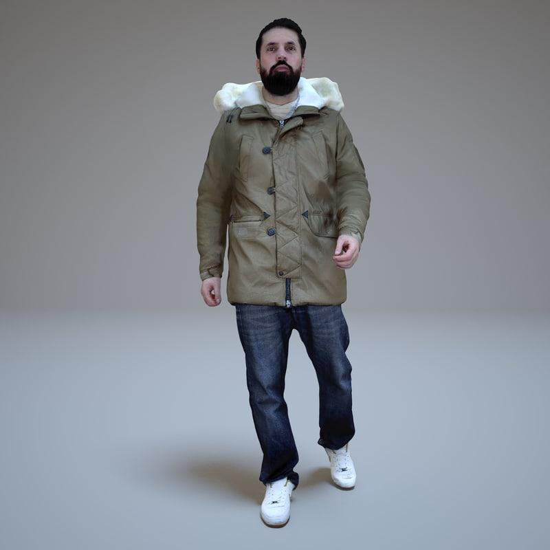 3d model casual men walking winter
