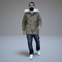 3d model casual men walking winter