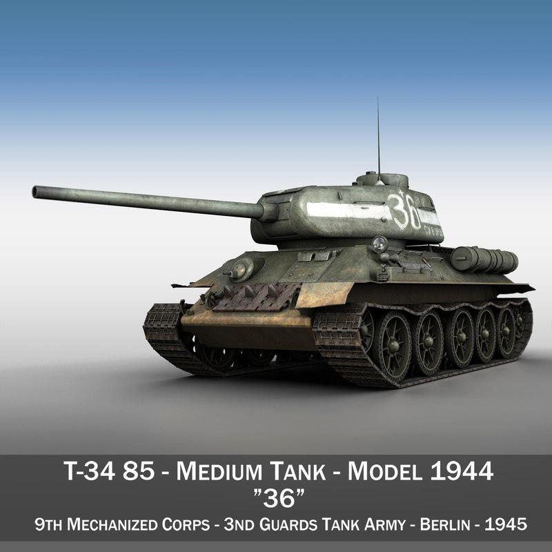 3d model of t-34 85 - soviet
