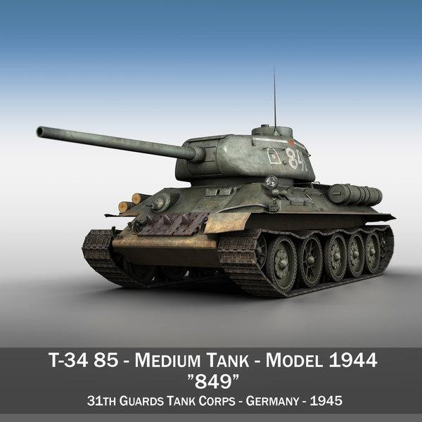 3d model t-34 85 - soviet
