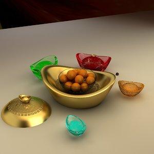 chinese gold ingot obj
