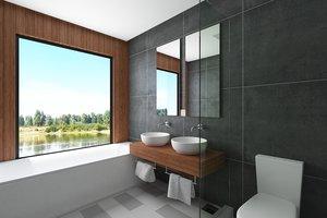 3d contemporary bathroom scene model