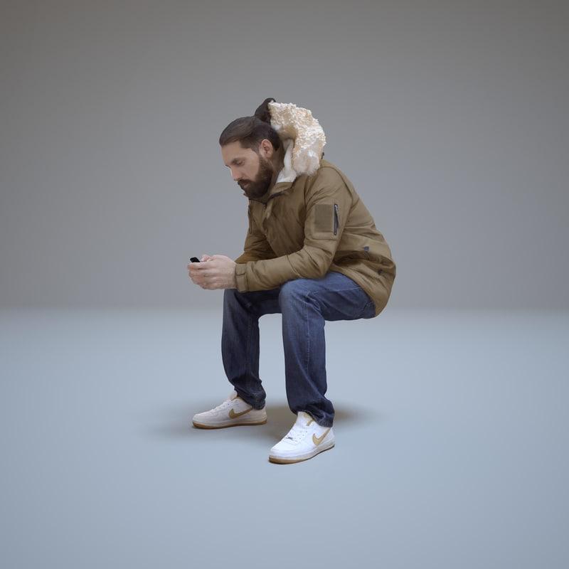 casual man sitting phone 3d model