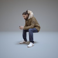 casual man sitting phone 3d model
