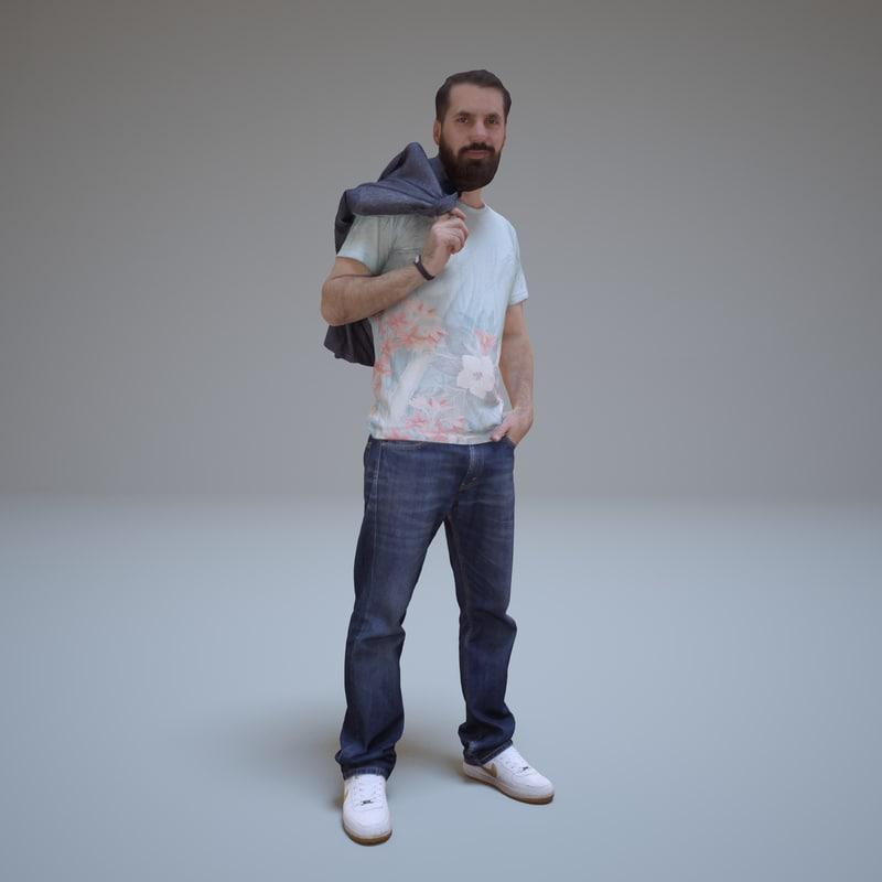 casual man beard standing 3d max