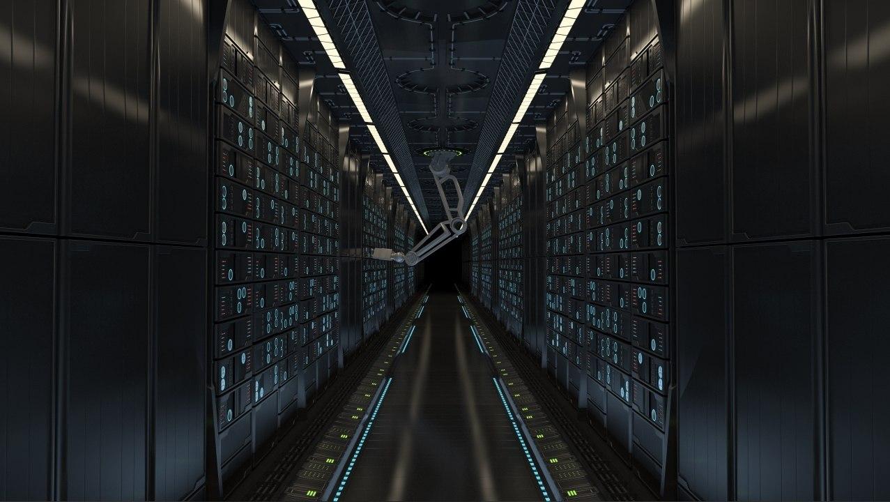obj futuristic server room robotic arms