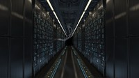 Futuristic sci-fi Server Room with robotic arms. Animated 3d model