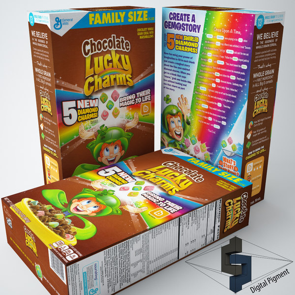 lucky charms chocolate cereal box obj