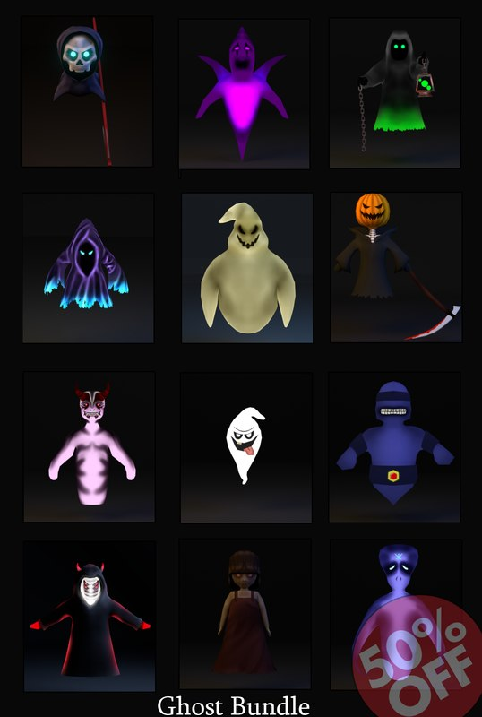 3d model of ghost 12 items