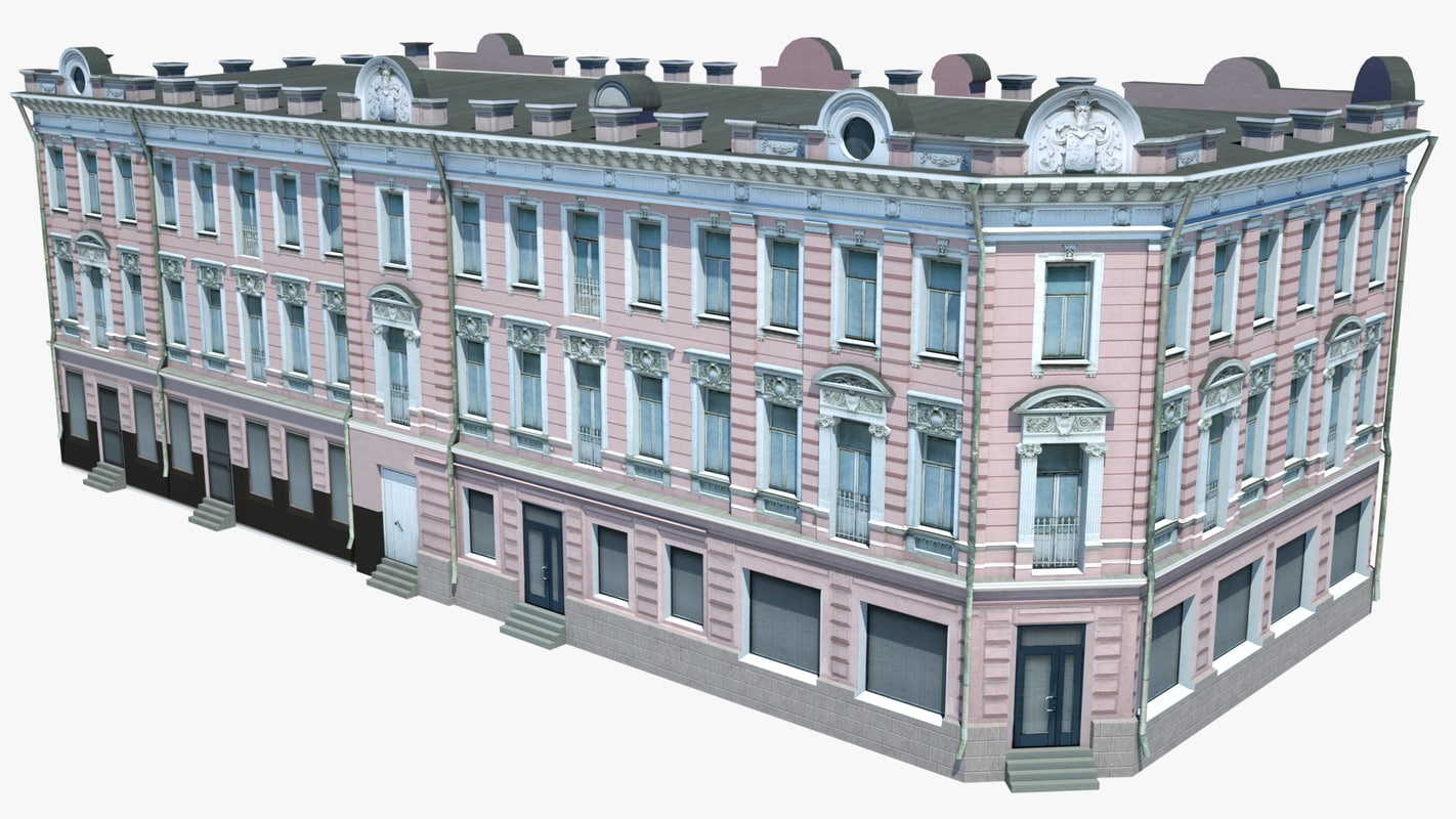 3d pink classical architecture building model