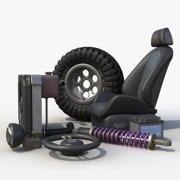 set car garage wheel 3d model