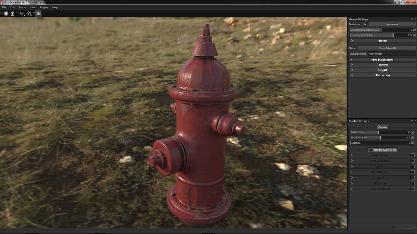 3d model photorealistic hydrant