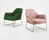 Frame Armchair in Grass Cotton Velvet by Made