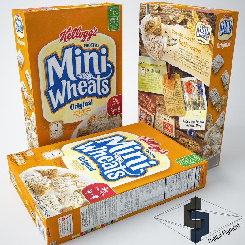 3d model mini wheats original cereal box