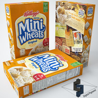 3d model mini wheats original cereal box